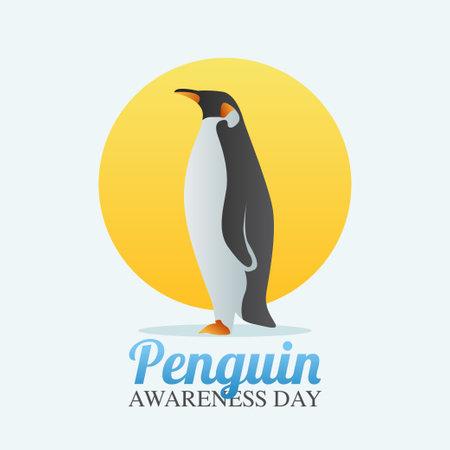 vector graphic of penguin day good for penguin day celebration. flat design. flyer design.flat illustration.
