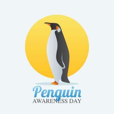 vector graphic of penguin day good for penguin day celebration. flat design. flyer design.flat illustration.