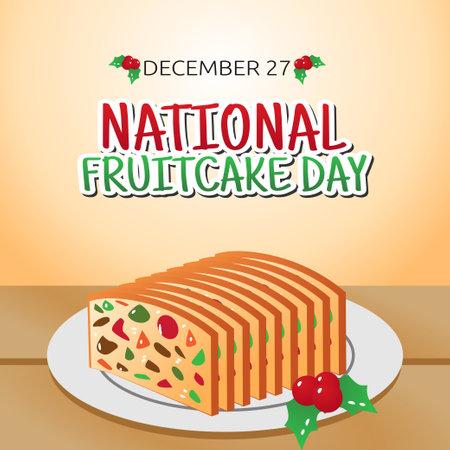 vector graphic of national fruitcake day good for national fruitcake day celebration. flat design. flyer design.flat illustration.
