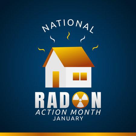 vector graphic of national radon action month good for national radon action month celebration. flat design. flyer design.flat illustration. Vector Illustration