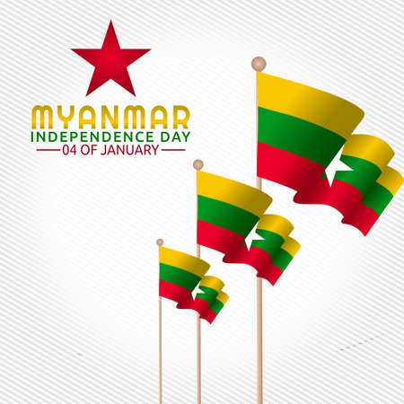 vector graphic of Myanmar independence day good for Myanmar independence day celebration. flat design. flyer design.flat illustration.  イラスト・ベクター素材
