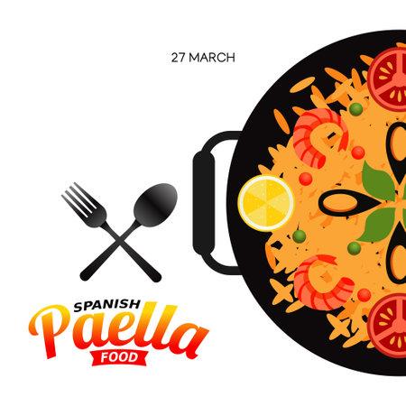 vector graphic of Spanish paella food good for Spanish paella food celebration. flat design. flyer design.flat illustration.