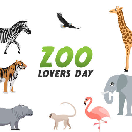 vector graphic of zoo lovers day good for zoo lovers day celebration. flat design. flyer design.flat illustration. Vektorové ilustrace
