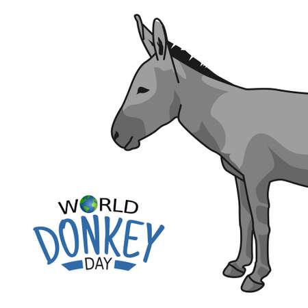 vector graphic of world donkey day good for world donkey day celebration. flat design.