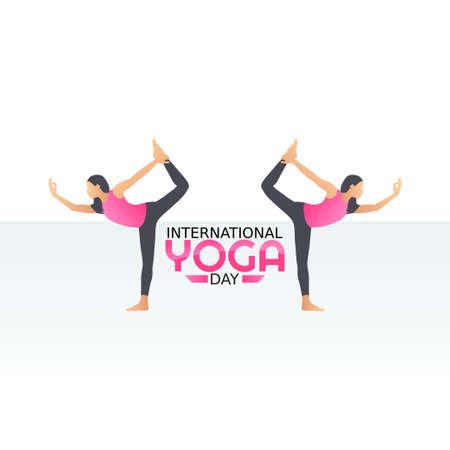 vector graphic of international yoga day good for international yoga day celebration. flat design. flyer design.flat illustration.