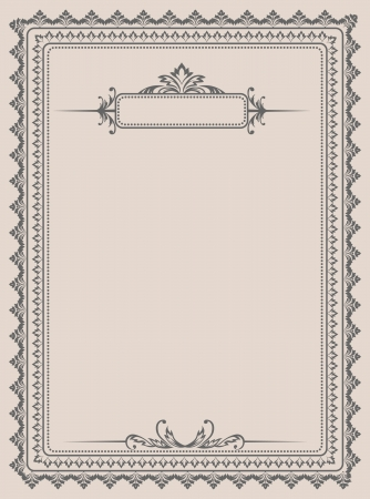 Vintage form for the design of blanks and certificates