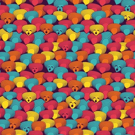 funny cat: Bright seamless pattern with muzzles