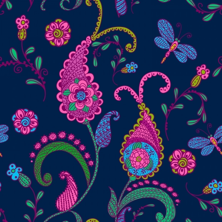Seamless bright paisley  Vector