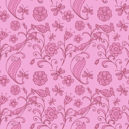 seamless pink background with birds and flowers Stock Vector - 15890328