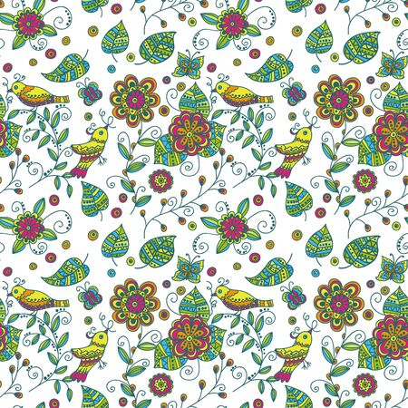Seamless pattern with birds and flowers Stock Vector - 16239192
