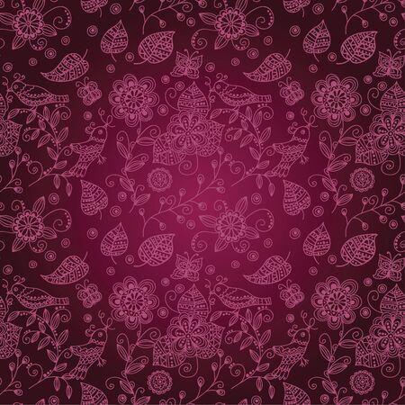 burgundy background: burgundy seamless pattern with birds and flowers