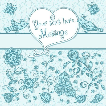 Cute background with birds and hearts Stock Vector - 16239240