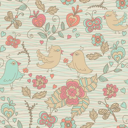 seamless doodle background with flowers and birds Vector