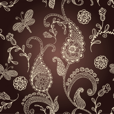Seamless brown paisley Vector