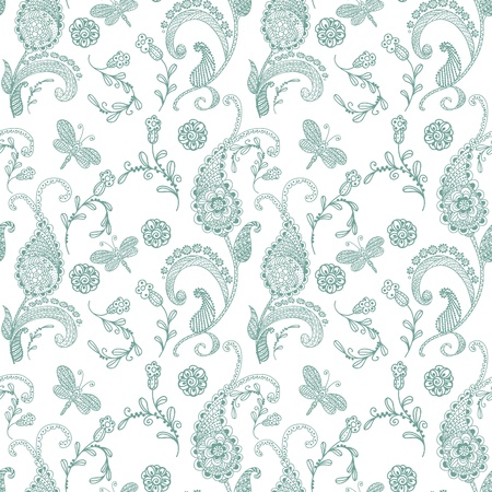 paisley background: Doodle seamless paisley pattern