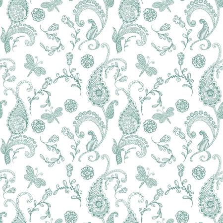 paisley design: Doodle seamless paisley pattern