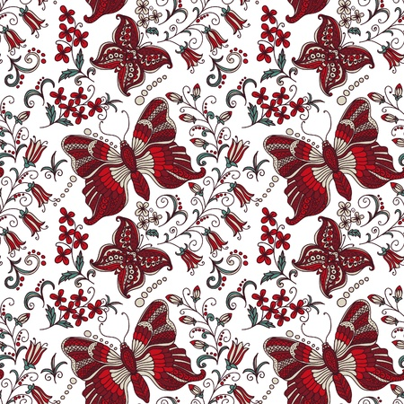 butterflies abstract: Bright seamless background with butterflies Illustration