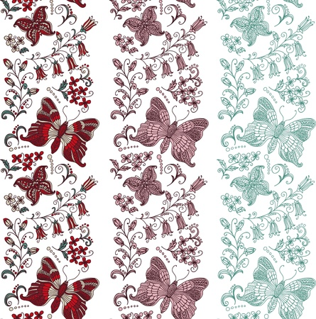 Seamless border with butterflies Vector