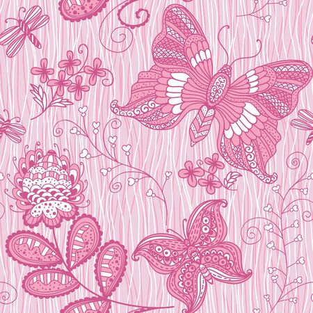 Pink seamless background with butterflies Vector