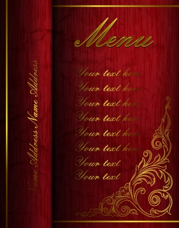 Vintage menu folder with golden elements