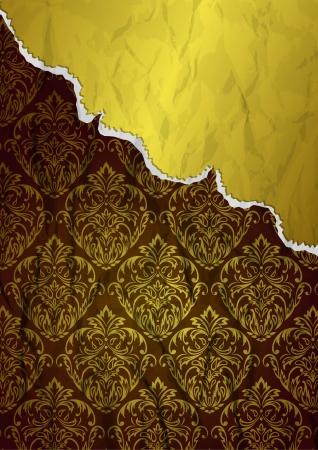 Vintage background with golden elements Stock Illustratie