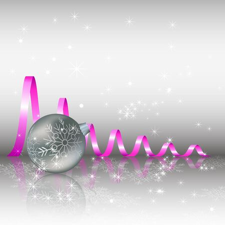Christmas background with balls and serpentine  Vector