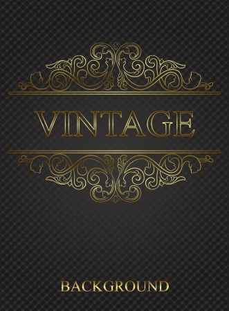 Vintage background with golden elements  Vector