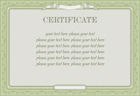 green vintage template for the certificate Vector