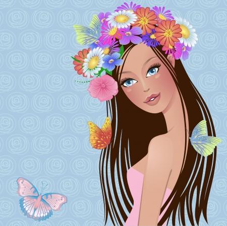 animalitos tiernos: niña con flores y mariposas en la cabeza Vectores