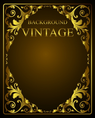 vintage blank template with golden elements Vector