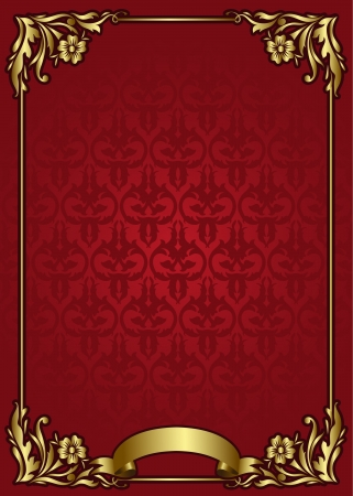vintage blank template with golden elements