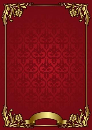 red and yellow card: plantilla de la vendimia en blanco con elementos de oro