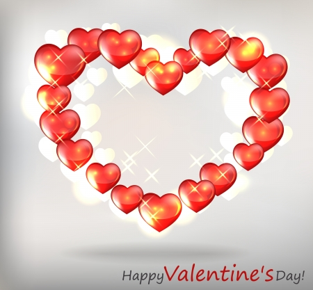 love wallpaper: Valentin s Day Card With Hearts, Vector Illustration