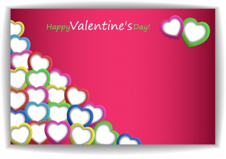 vector hearts: Valentin s Day Card With Hearts, Vector Illustration