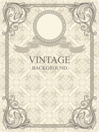 Vintage frame and seamless pattern  Vector