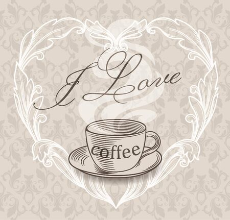 Vintage menu background with a cup Vector