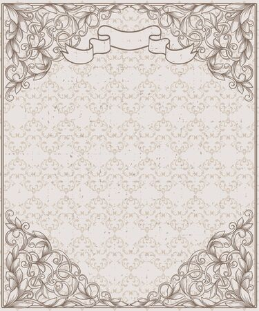old postcards: Vintage frame and seamless pattern