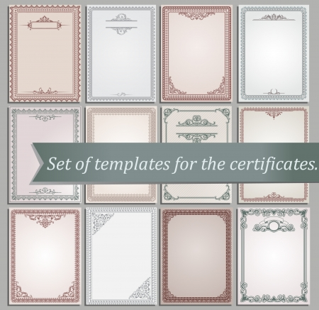 set of certificate templates  Vector
