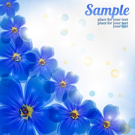 artistic: blue background with flowers
