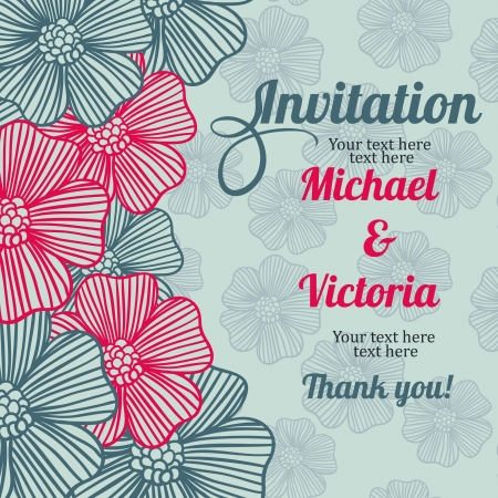 invitation card with flowers and seamless pattern Stock Vector - 18435409