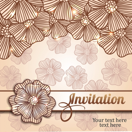 invitation card with flowers and seamless pattern Stock Vector - 18435430