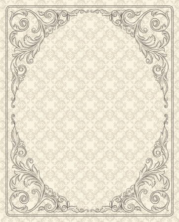 Vintage background with design elements  Ilustração