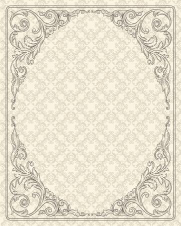 Vintage background with design elements  Ilustracja
