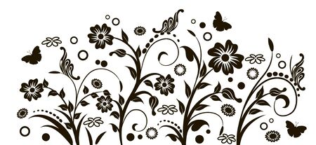 floral pattern with flowers and butterflies photo