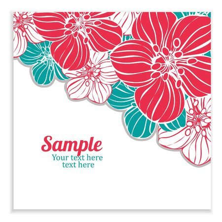 cute border: background with red and gray flowers