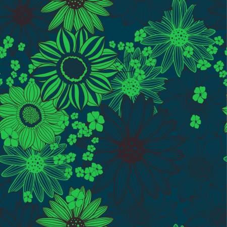 blue light green floral seamless pattern Stock Vector - 20414387
