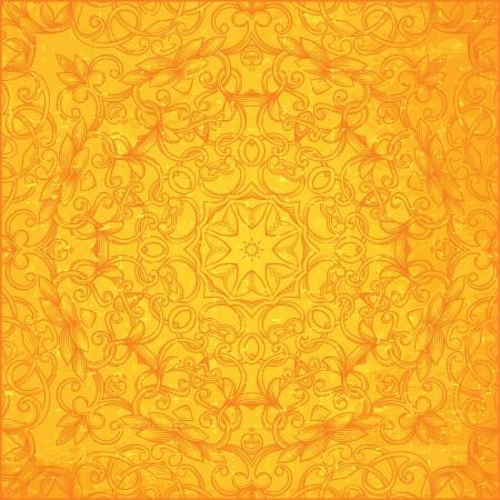 bright orange ornament, vintage pattern