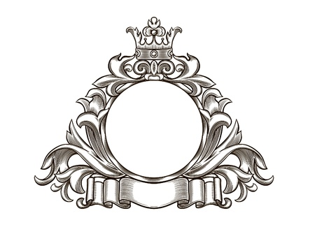 black and white emblem, all the elements are grouped Illustration