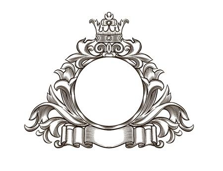 escudo de armas: emblema blanco y negro, se agrupan todos los elementos