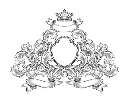 black and white  insignia isolated Illustration